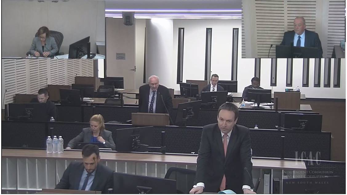 GRILLING: Counsel Assisting ICAC Scott Robertson (bottom right) questions Daryl Maguire (to right on the first of two days when the former Wagga MP will give evidence. Picture: ICAC